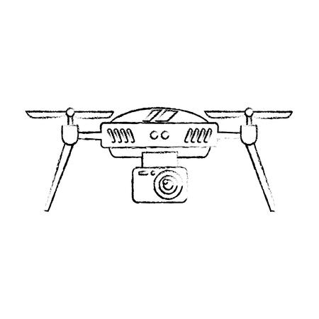 드론 공중 카메라 원격 프로펠러 장치 벡터 일러스트 레이션