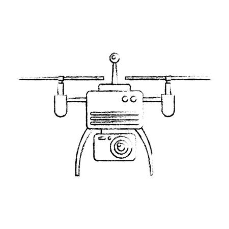 drone aerial camera remote propeller device vector illustration Иллюстрация