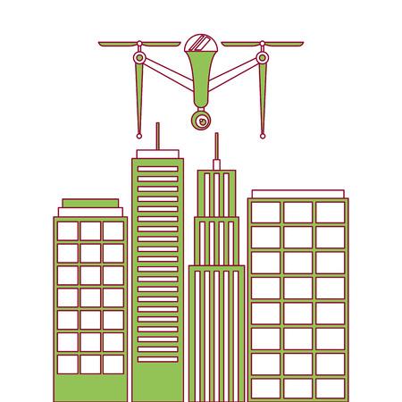 Drohne mit Kamera auf Stadtlandschaft Gebäude Vektor-Illustration fliegen Standard-Bild - 89887371