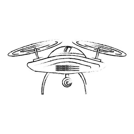 Drone antena câmera remoto hélice dispositivo ilustração vetorial Foto de archivo - 89887374