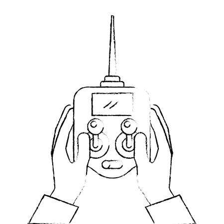 화면 벡터 일러스트와 함께 드론에 대 한 컨트롤 원격 사전 들고 손