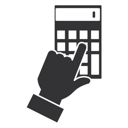 hand with calculator device isolated icon vector illustration design