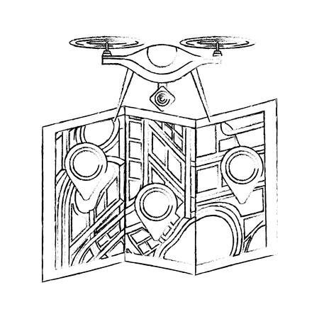 drone vliegende technologie met papieren kaart gps navigatie vectorillustratie Stock Illustratie
