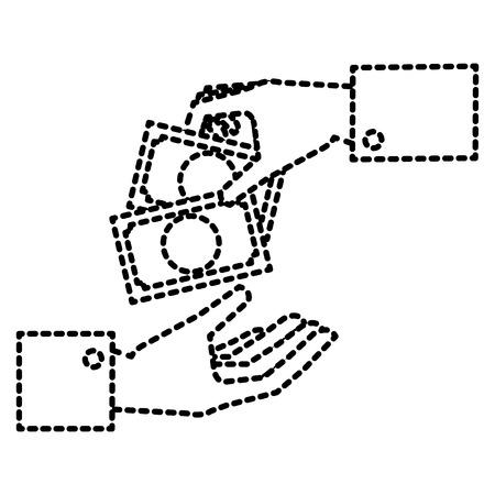 法案ドルお金アイコン ベクトル イラスト デザインと人間の手