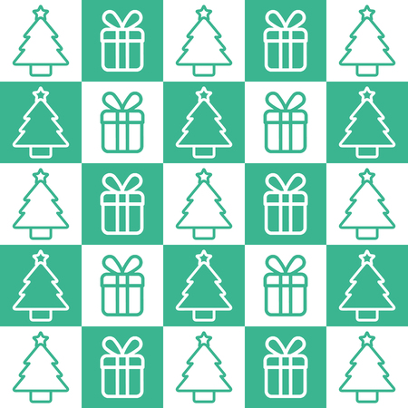 christmas background tree and gift traditional pattern design vector illustration Çizim
