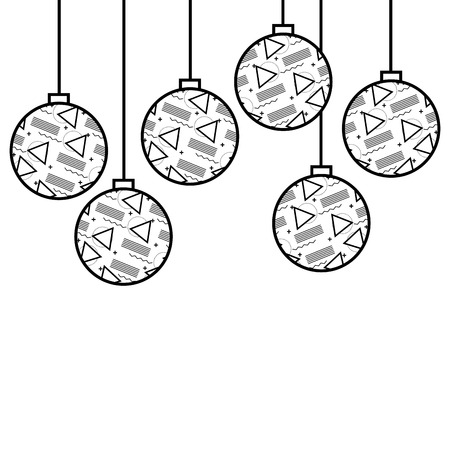christmas balls with geometric figures hanging decoration vector illustration Stock Vector - 89887438
