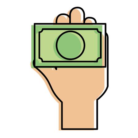 hand human with bill dollar money icon vector illustration design