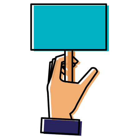 hand with protest banner isolated icon vector illustration design