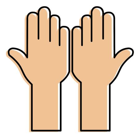 Hands up icon vector illustration design Foto de archivo - 89887611