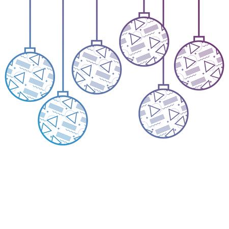 christmas balls with geometric figures hanging decoration vector illustration Ilustração