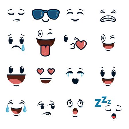cute faces doodle emoji cartoon vector illustration graphic design