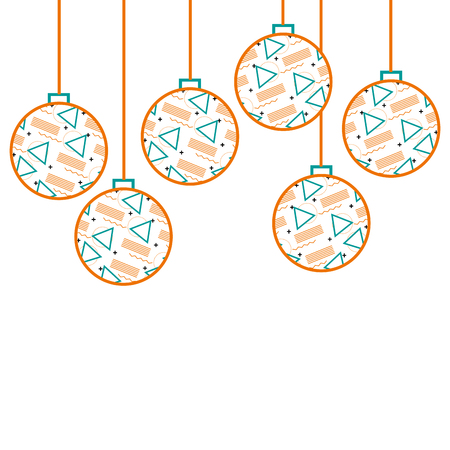 christmas balls with geometric figures hanging decoration vector illustration Illustration