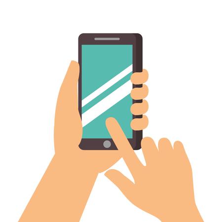 手のタッチ画面携帯電話ベクトル図