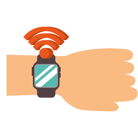 hand with smartwatch nfc technology concept modern commerce vector illustration Illustration