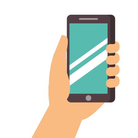hand holding smartphone digital technology vector illustration Illustration