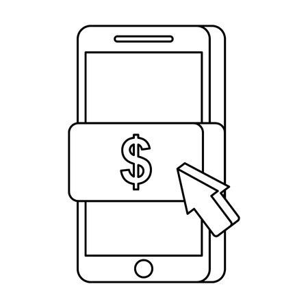 휴대 전화 온라인 지불 기술 벡터 일러스트 레이션 일러스트