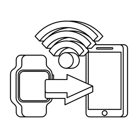 통신 기술 벡터 일러스트 레이 션의 스마트 시계 휴대 전화 개념을 사용 하여 모바일 지불