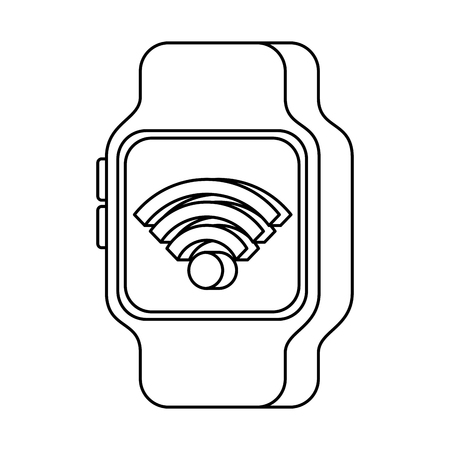 smartwatch wifi connection internet technology vector illustration