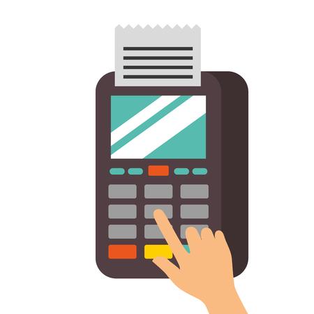hand press button nfc payment mobile dataphone