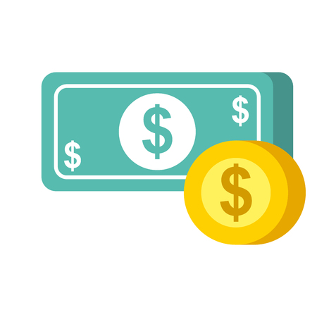 payment online banknote coin dollar money currency vector illustration