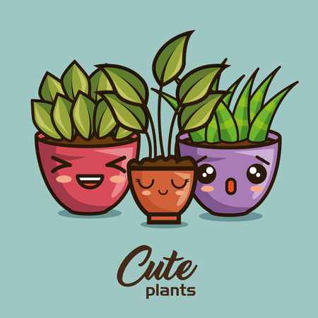 cute lovely house plants cartoons vector illustration graphic design 版權商用圖片 - 89888052