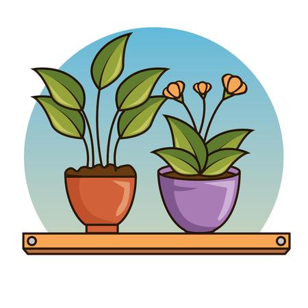 cute beautiful house plants cartoons vector illustration graphic design