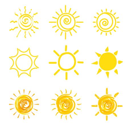set of sun icons vector illustration graphic design Ilustração