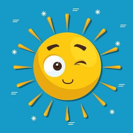 夏太陽顔漫画ベクトル イラスト グラフィック デザイン  イラスト・ベクター素材