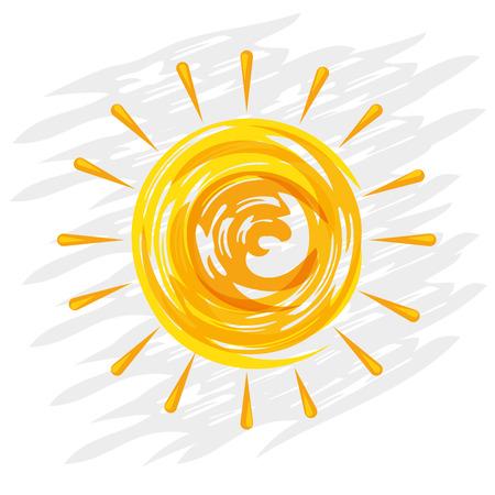 shinny doodle sun hand drawn cartoon vector illustration graphic design