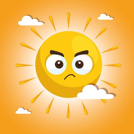 여름 태양 얼굴 만화 벡터 일러스트 그래픽 디자인