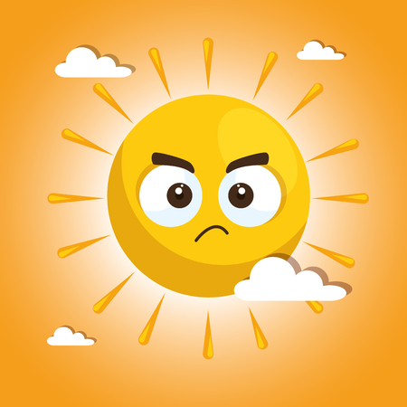summer sun face cartoon vector illustration graphic design
