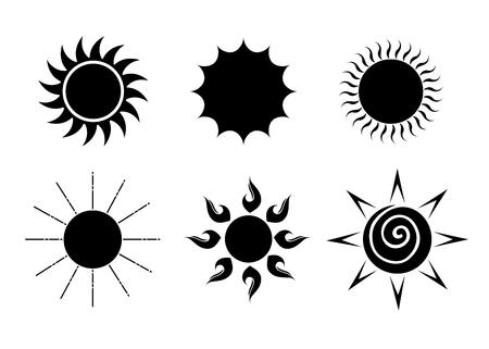 Reeks van vector de illustratie grafisch ontwerp van zonpictogrammen Stockfoto - 89888238