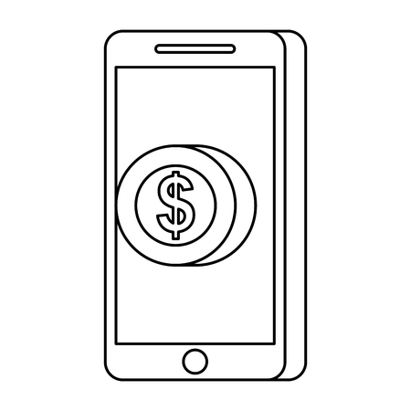 mobile phone pay coin money online technology vector illustration Illustration
