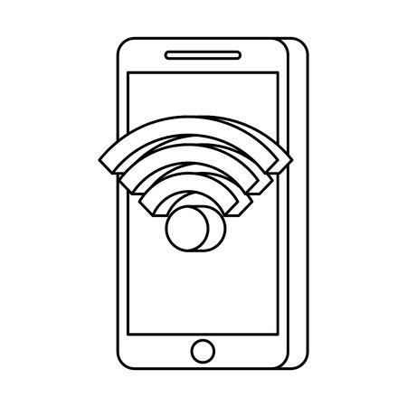 mobile phone wifi online app online technology vector illustration