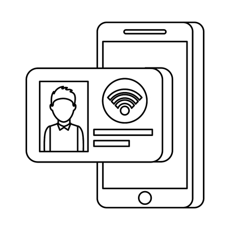 mobiele telefoon met id-kaart internet online technologie vectorillustratie