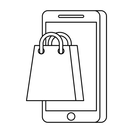 mobile phone online shopping commerce sale vector illustration