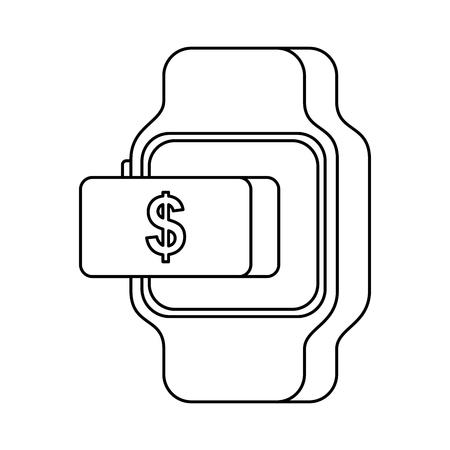 Illustration vectorielle de smartwatch paiement argent bouton en ligne Banque d'images - 89888749