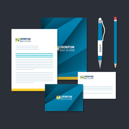 zakelijke gedrukte reclameartikelen vector illustratie ontwerp Stock Illustratie