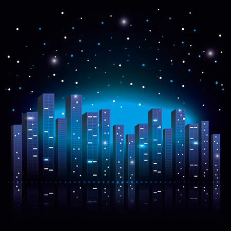 city scene at night vector illustration design Illustration