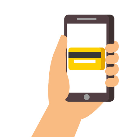 hand holding smartphone credit card bank online vector illustration
