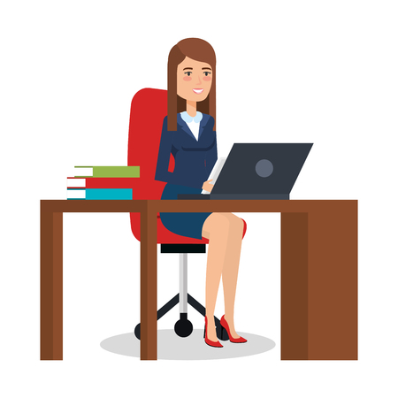 businesswoman in office character vector illustration design