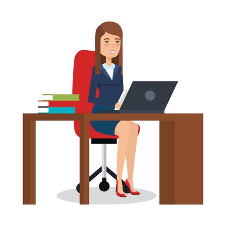 zakenvrouw in office karakter vector illustratie ontwerp
