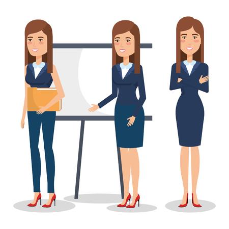 elegant business woman in different pose vector illustration design