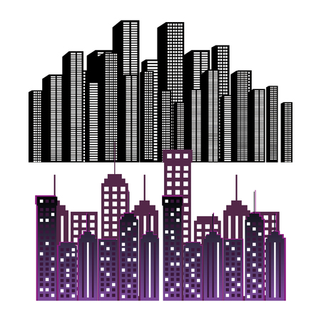 cityscape buildings set silhouette icon vector illustration design Illustration