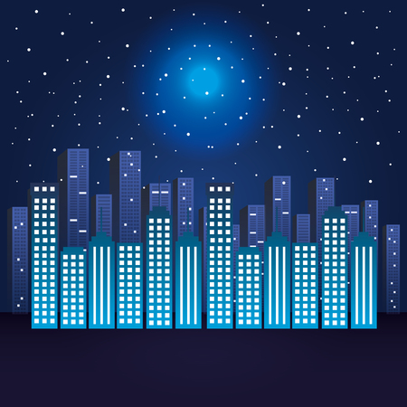 city scene at night vector illustration design Ilustração