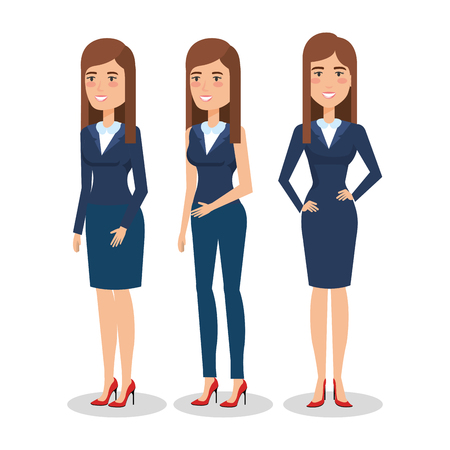 elegant business woman in different pose vector illustration design