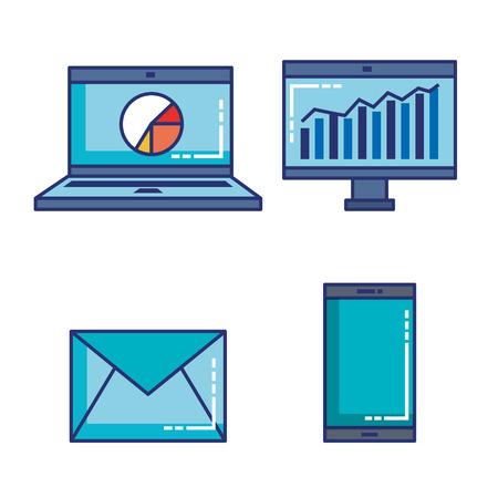 fintech set flat icons vector illustration design