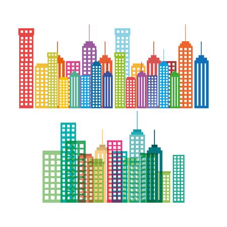도시 풍경 건물 실루엣 아이콘 벡터 일러스트 디자인 설정 일러스트