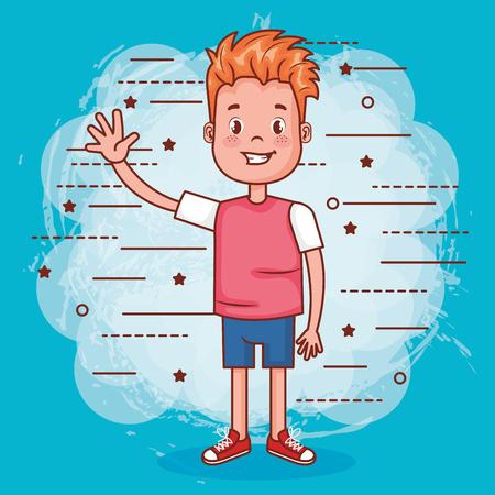 小さな幸せな少年アバター文字ベクトル イラスト デザイン。