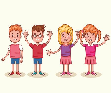 Little happy kids avatars characters vector illustration design.